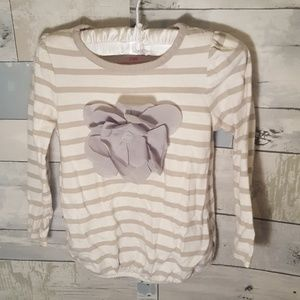 Gray and White Striped Tunic with Flower